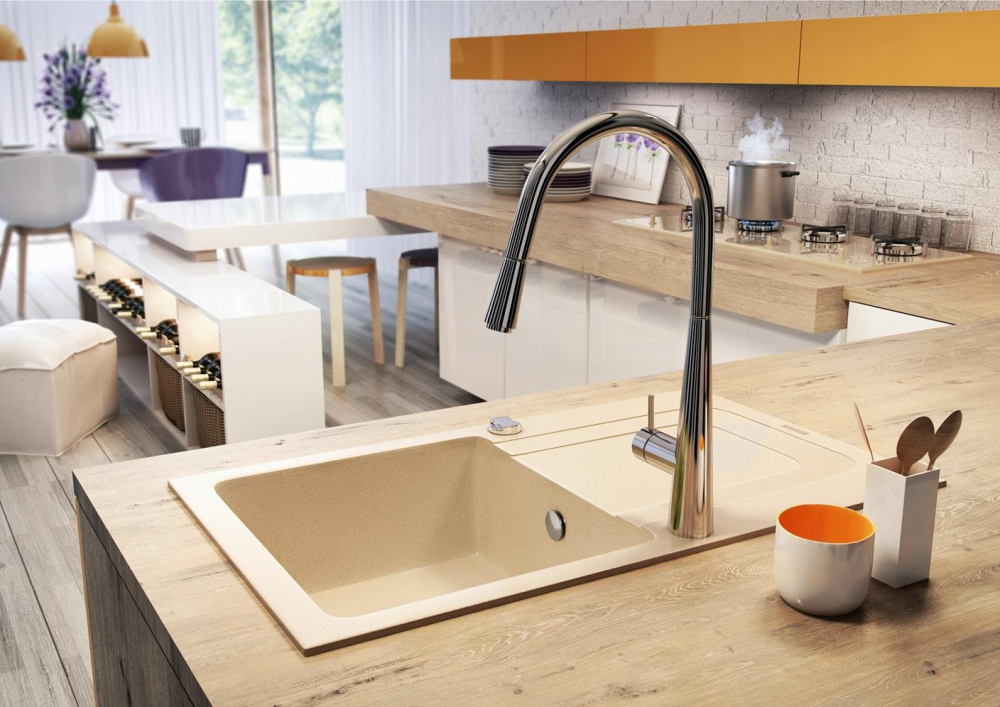 DE-Fanky white kitchen sink