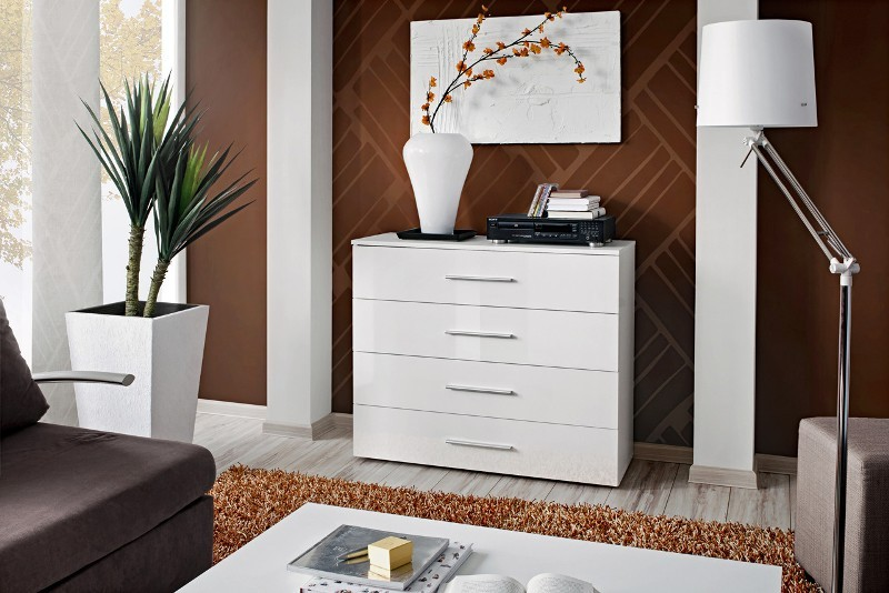 Details about SB GO 7 - White 4 drawer bedroom dresser / contemporary chest  of drawers