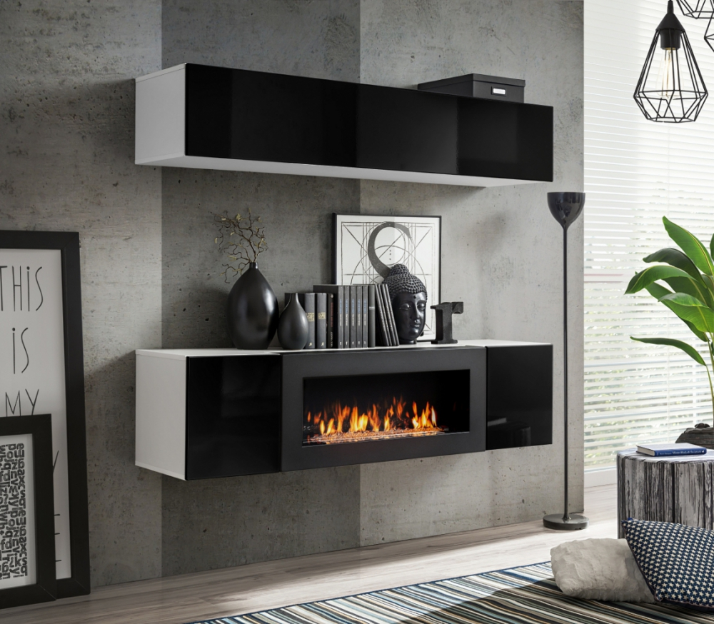 Details About Idea N1 Wall Cabinet With Fireplace Tv Entertainment Stand Media Unit