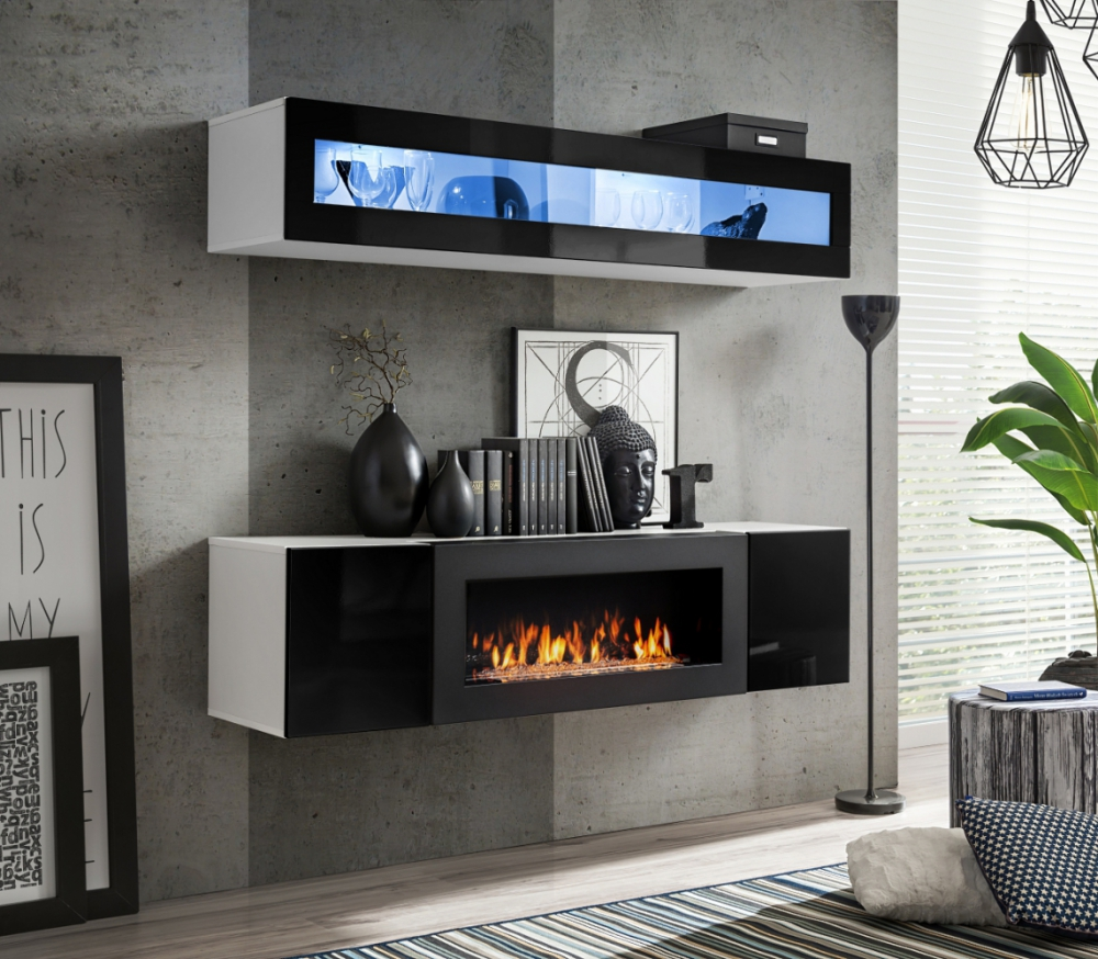 Idea N2 Tv Cabinet With Fireplace Modern Entertainment