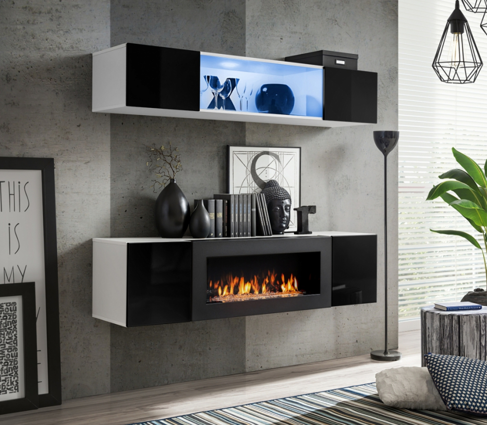 Living Room Media Center: Media Wall Unit With Fireplace / Living Room