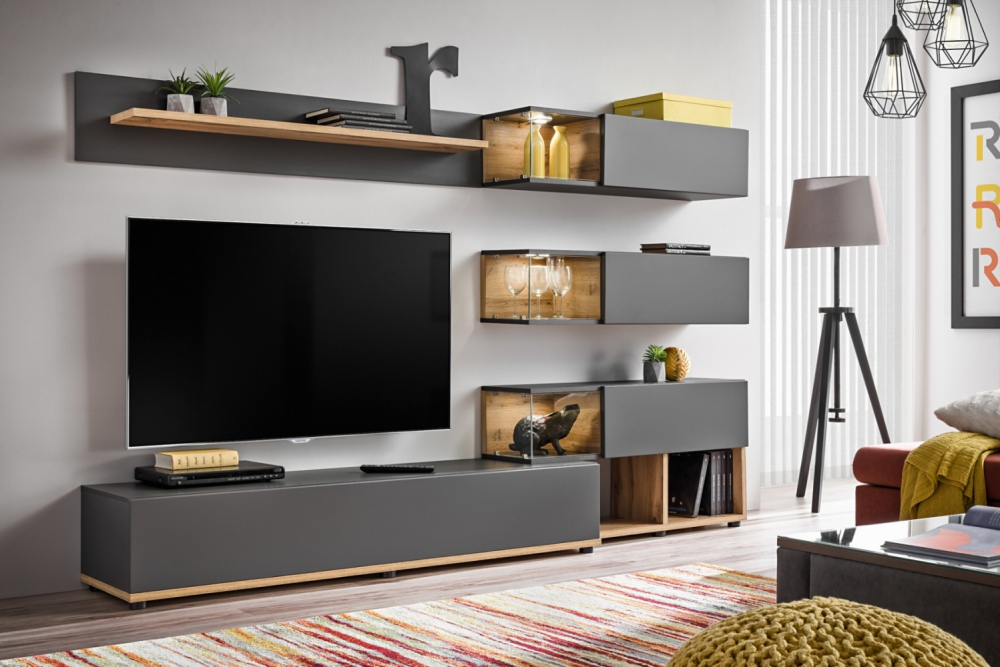 Simi - Anthracite modern entertainment center / living ... on Wall Units For Living Room Contemporary id=76641