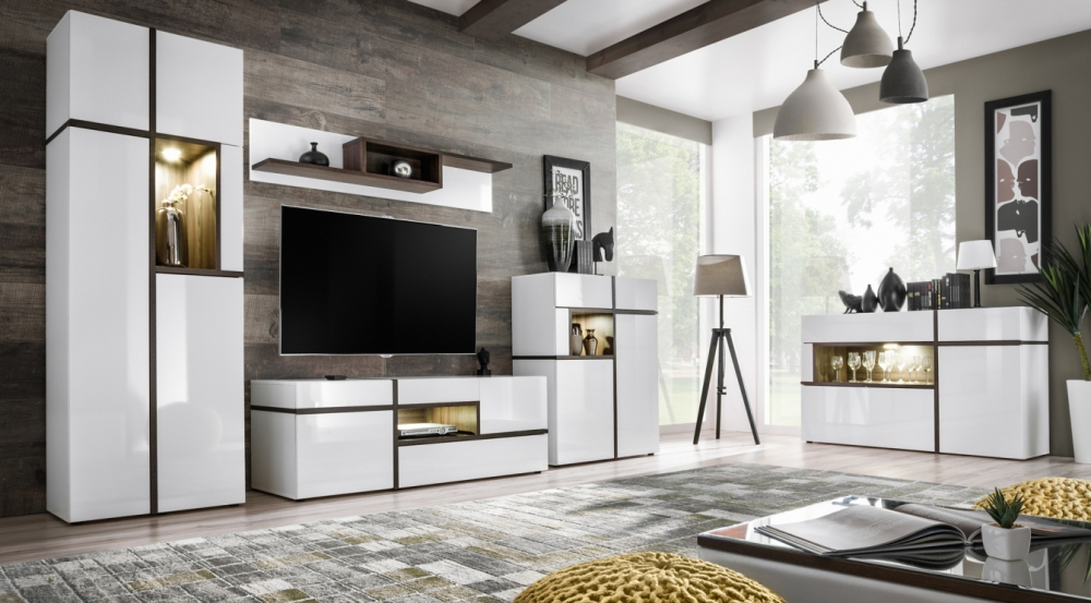 Details about chandler white living room entertainment center modern tv wall unit