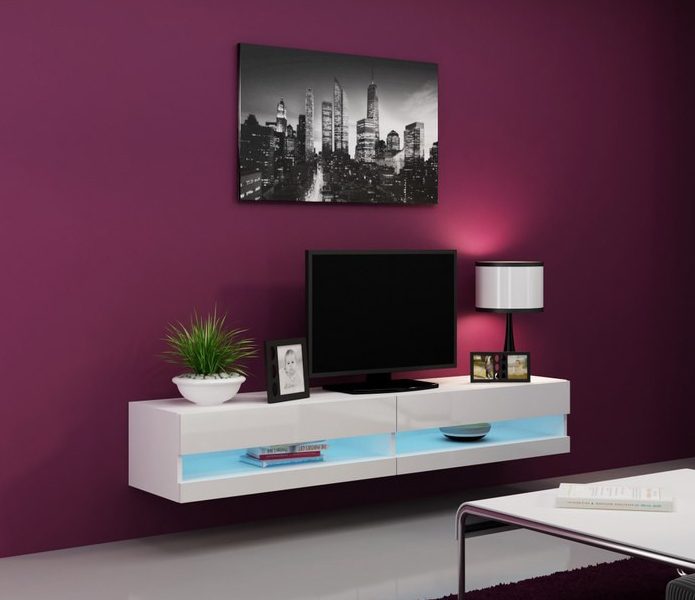 Details About Seattle 31 White Tv Stand For Flat Screens Cabinet Console Table