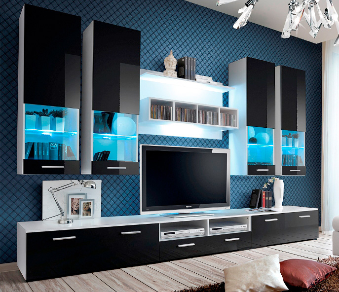 Details about Montreal 2 - modern TV Wall Unit / entertainment center  cabinet / tv stand