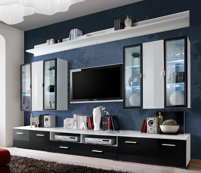 Details About Malmo 2 Contemporary Entertainment Center Wall Unit Tv Stand