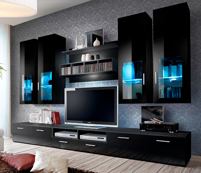 Presto 5 Black Modern Entertainment Center For 65 Inch