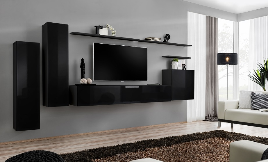 Shift 1 - black living room wall unit / entertainment center for 55 ...