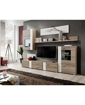 Akron - Truffle oak living room wall unit