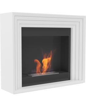 Cary - white freestanding modern fireplace