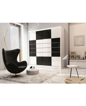 Aloa 203 - black and white clothing armoire
