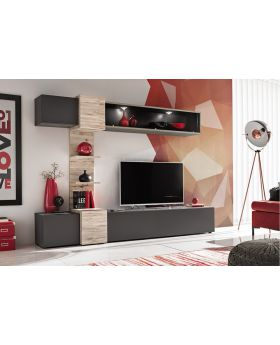 Modern Living Room Entertainment Center Solid Wood Oak