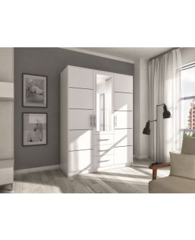 Bolton D3 - white wardrobe with drawers
