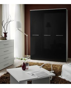 Wardrobe 135d - black 3 door wardrobe