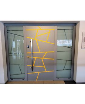LIM aluminum entry door with left and right sidelight (view from the outside)