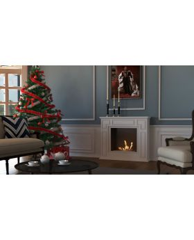 Edison - white large bio ethanol freestanding fireplace
