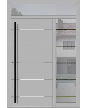 LIM aluminum exterior door with right and top sidelight (view from the outside)