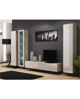 Seattle D1 - oak and white living room entertainment center