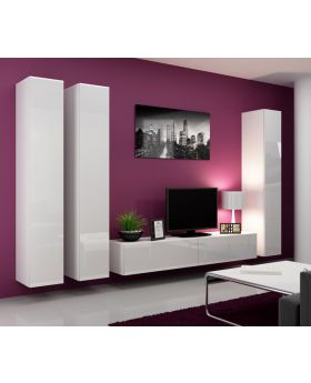 Seattle 7 - White contemporary entertainment center