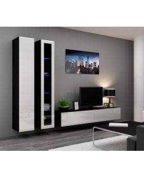 Seattle 11 - white and black living room wall units