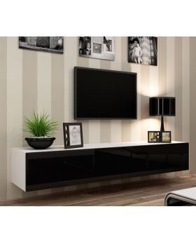 Seattle 22 - Modern TV wall unit with high gloss black MDF fronts