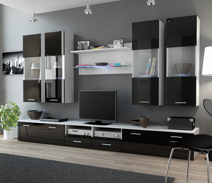 Details about Sephora 2 - Black and white wall unit / living room  entertainment center