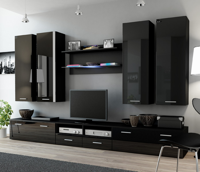 Details About Indigo 4 Black Modern Tv Stand Entertainment Center Cabinet Wall Unit