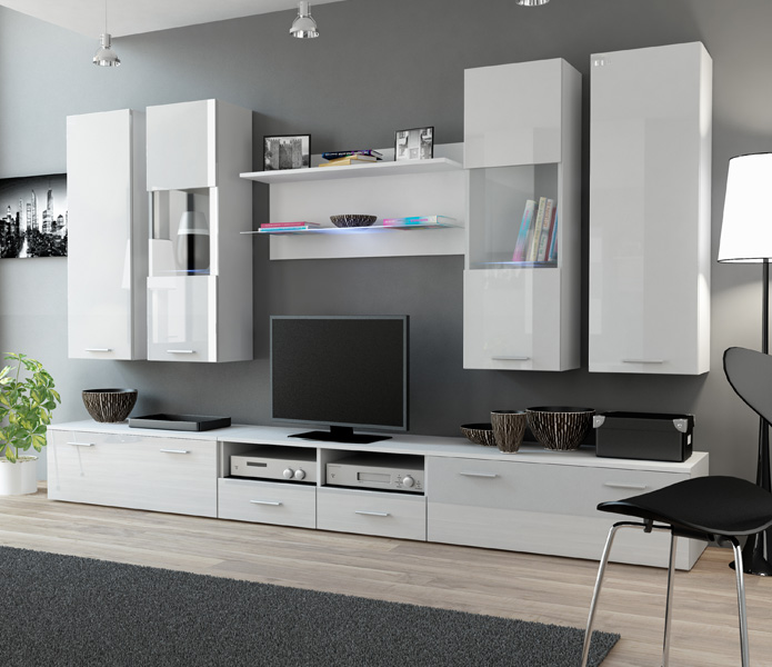 Details About Toskan 2 White Modern Tv Wall Unit Entertainment Center Cabinet Stand