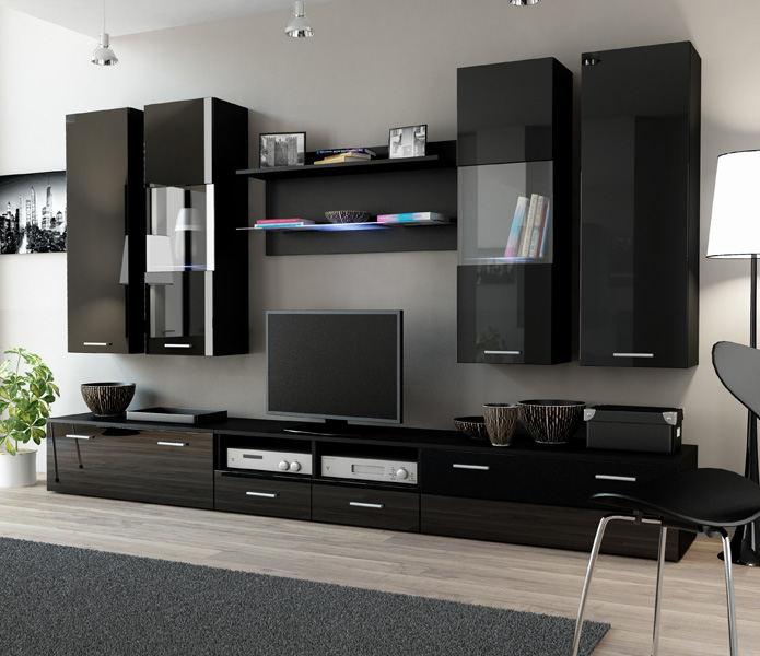 Details about Toskan 4 - black entertainment center for living room /  modern tv wall unit