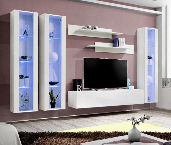 Details About Idea D6 White Contemporary Entertainment Center Modern Tv Wall Unit