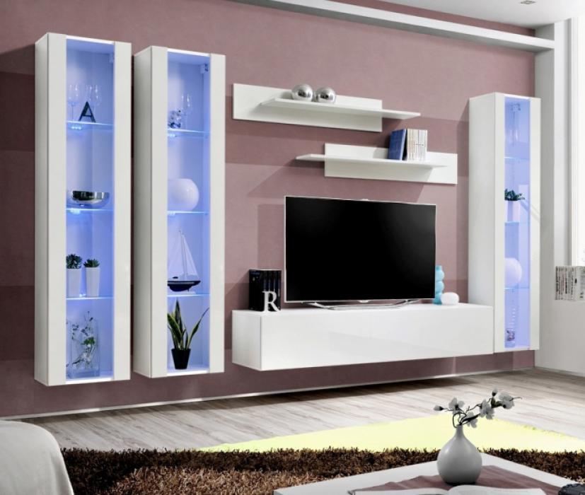Details About Idea D6 White Contemporary Entertainment Center Modern Tv Wall Unit