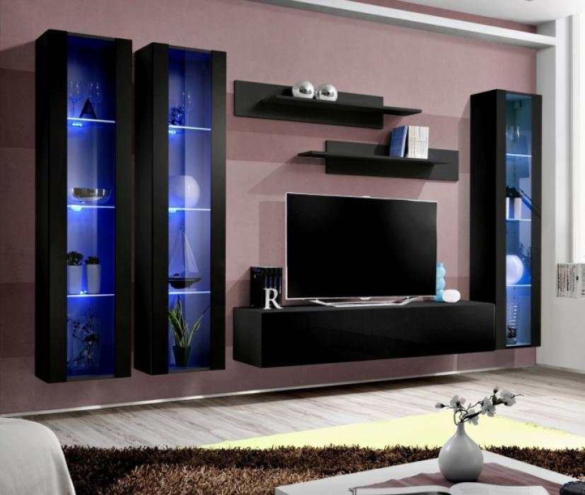 Idea D8 Black Living Room Entertainment Center Living Room Wall Unit 827160301392 Ebay