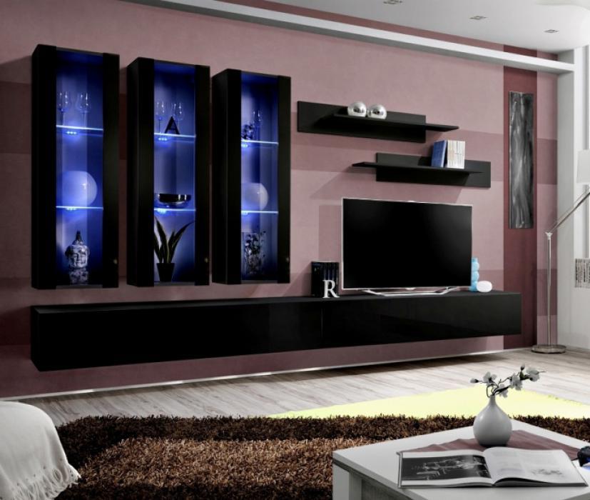 Idea E1 Black Modern Wall Unit Living Room Entertainment Center Tv Stand Ebay
