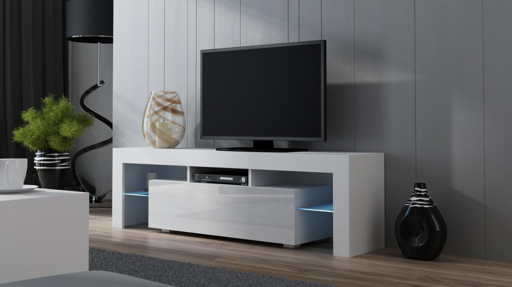 Milano 160 White Modern Tv Cabinet Living Room Tv Stand Tv Console Table Ebay