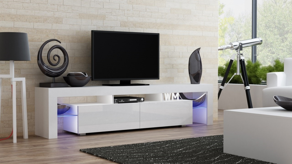 Milano 200 White Modern Living Room Tv Stand Tv Console Table For Flat Screens Ebay
