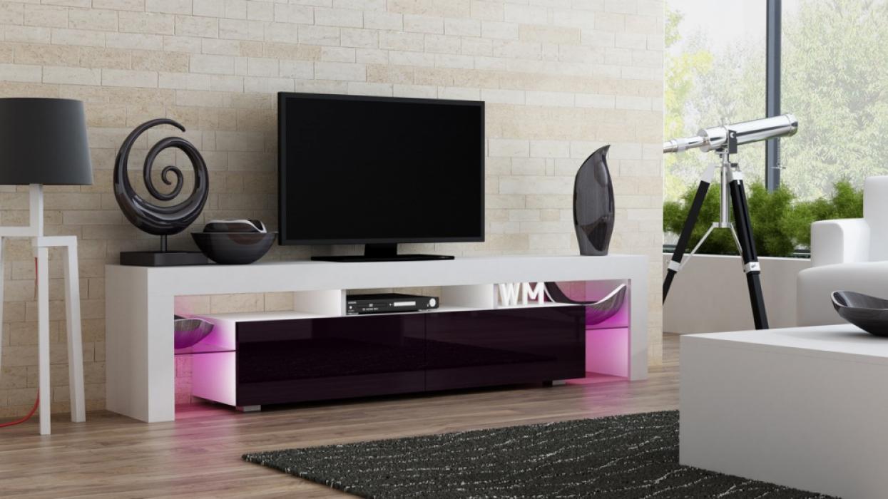 Milano 200 blanc rouge violet meuble t l macanaille - Meuble tv violet ...