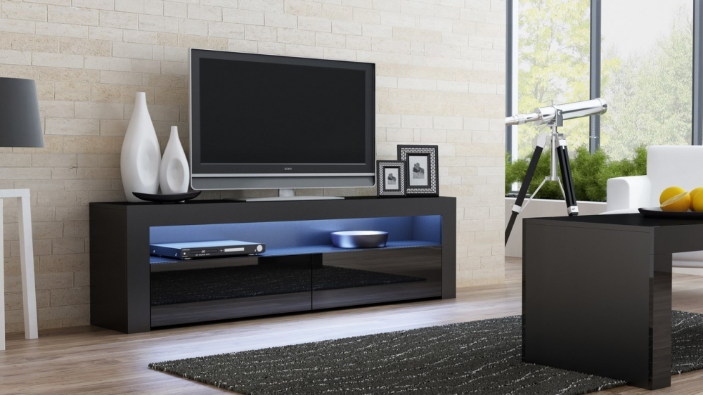 Milano 157 Clic Black Gloss Tv Stand