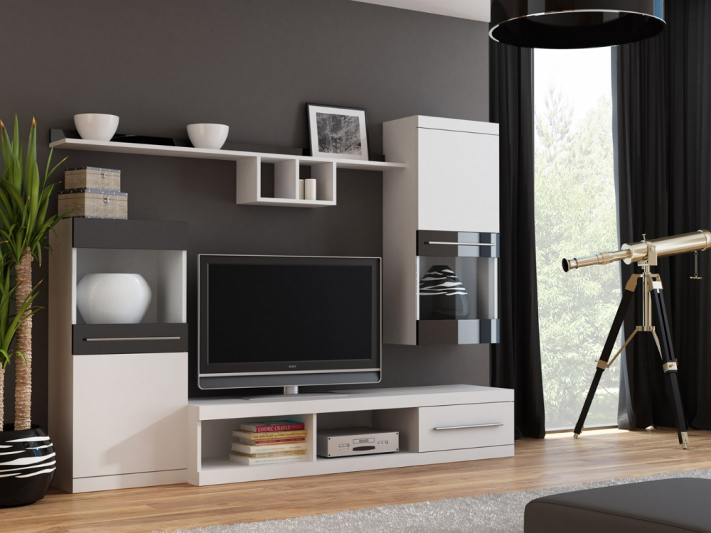 new styles b2201 92d42 Details about Merida 2 - cheap entertainment center / living room wall unit  / tv stand