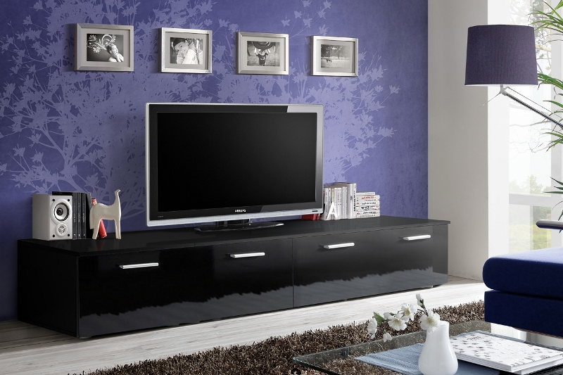 Details About Omega 3   Black Tv Stand Cabinet / Tall Tv Stands For Flat  Screens / Tv Console