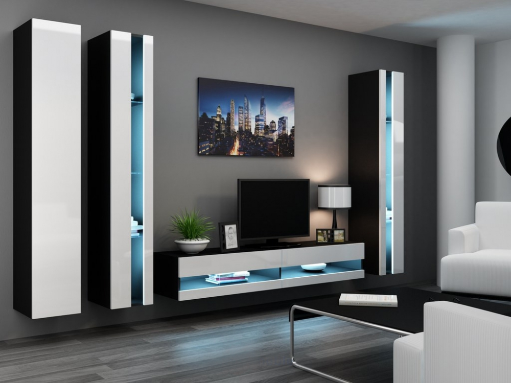 new style 4ebf4 bd1ec Details about Seattle B1- tv media stand / modern entertainment center /  living room wall unit