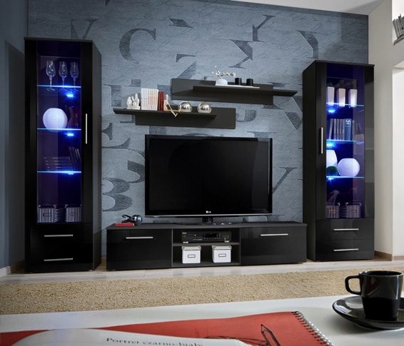 Telia 6 - black living room furniture / entertainment ...