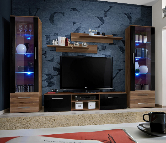 entertainment living room furniture telia 2 walnut and black modern tv wall unit fs inspire 15433