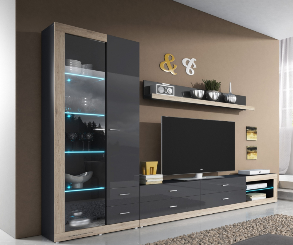 Tessa 2 modern wall unit montefiorecentre org Wall units for living room design