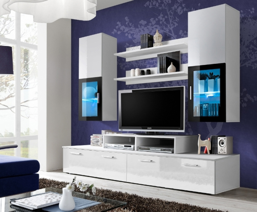Details About Toledo 1 White High Gloss Living Room Wall Unit Tv Entertainment Stand