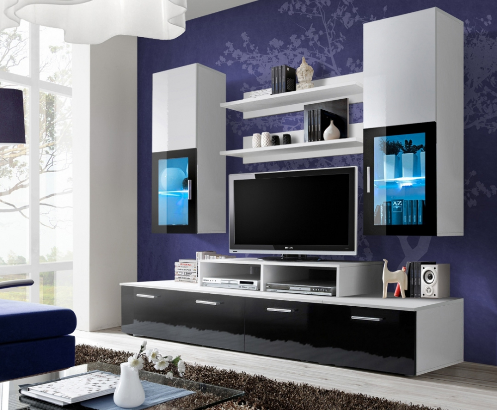 Black And White High Gloss Wall Unit