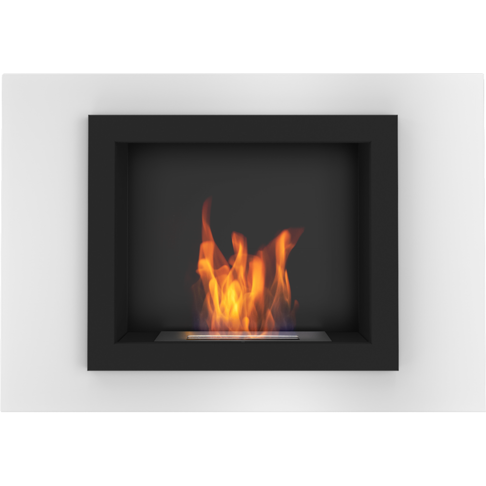 Details About Ontario White Wall Mounted Bioethanol Fireplace Modern Style